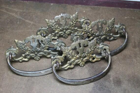 Furniture /Cabinet Hardware Pulls Brass Vintage 4 Pc | Etsy