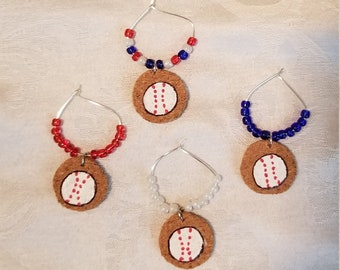 Red, White and Blue Baseball Wine/drink Charms 4pc Set