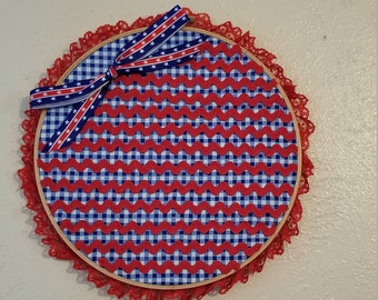 9inch Patriotic Waving Flag Embroidery Hoop Wall Hanging