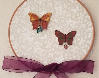 "10.5"" Butterflies Embroidery Hoop Wall Hanging"