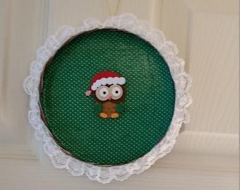 Round Christmas Owl Tin Wall Hanging Ornament