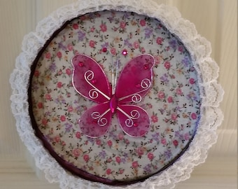 Round Pink Butterfly Tin Wall Hanging Ornament