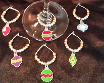 6pc Christmas Ornament Wine Charm Set