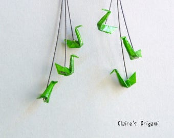 Green Triple Swan Origami Earrings, in folded paper, available with clips