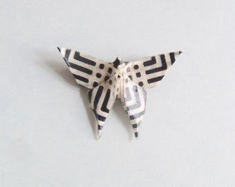 Black and white Butterfly Origami Brooch, in folded Japanese Paper