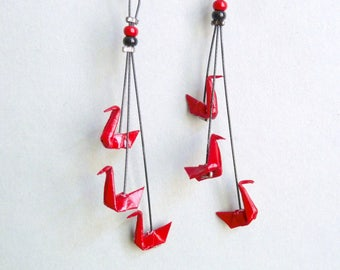 Dark red Triple Swan Origami Earrings, in folded paper, available with clips