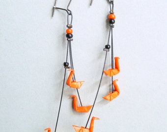 Orange Triple Swan Origami Earrings, in folded paper, available with clips