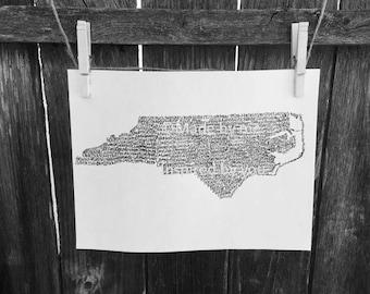 Typography Print. Handwritten. Art. State Art. North Carolina Art. 8.5 X 11. North Carolina Wall Art. North Carolina Unique Gift