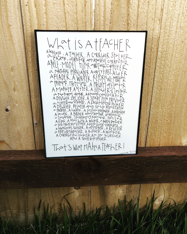 Typography Teacher t Original Handwritten Teacher poem