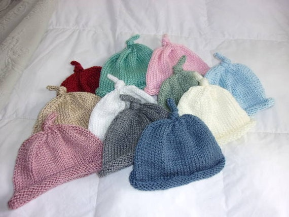 Hand knit Baby Hat Roll brim and knot top  00fa3f4ab1c8