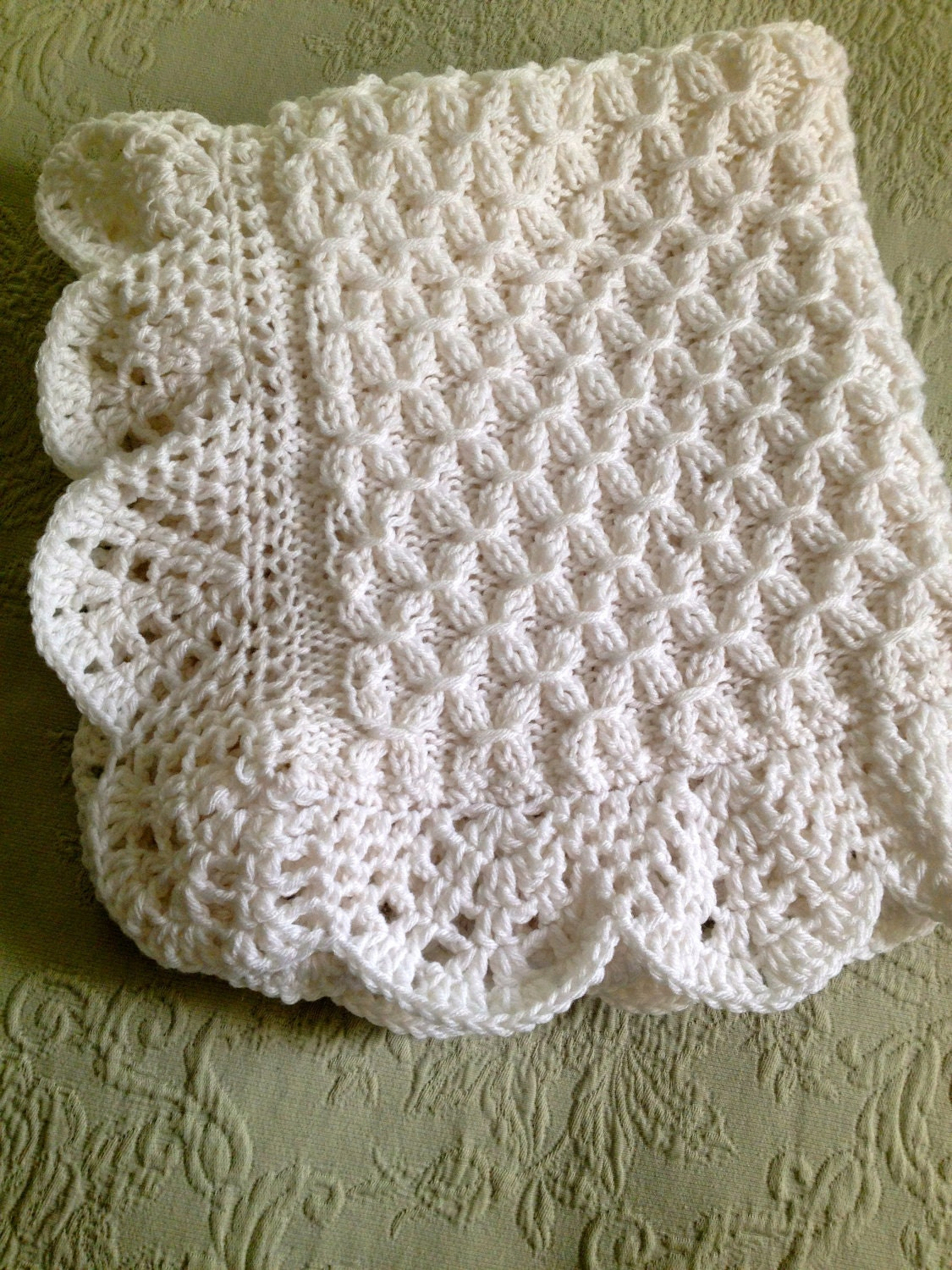 Hand Knit Smock Pattern Baby Blanket With Beautiful