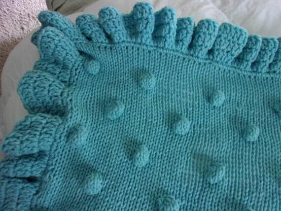 Hand Knit Baby Blanket In Popcornbobble Stitch Pattern With Etsy