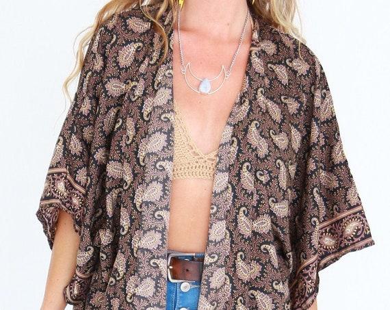 VINTAGE PAISLEY KIMONO - Beach Cover Up - Wrap around top - 60's lounge wear - 70's - Paisley Jacket - Stevie Nicks - Dressing gown