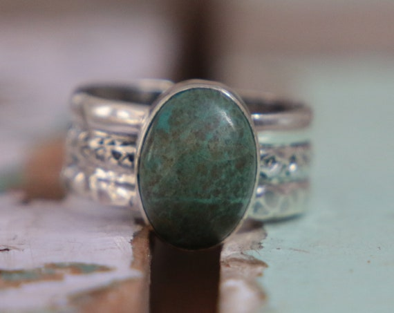 3 BAND TURQUOISE RING - Adjustable - One of a kind - Sterling Silver - Navajo Jewellery - Stack ring - December Birthday - Birthstone - Gift