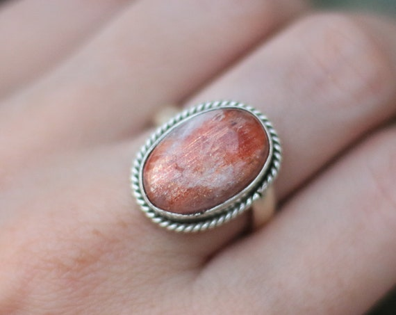 RARE SUNSTONE RING - Adjustable - Bespoke ring - Sterling Silver - Gem - Summer - Glitter - Sparkle - Statement - Crystal - Birthstone