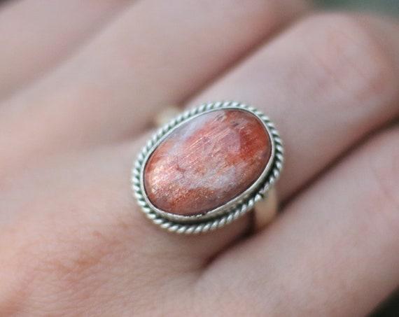 RARE SUNSTONE RING - Adjustable - Bespoke ring - Sterling Silver - Gem - Summer - Glitter - Sparkle - Statement - Crystal - Birthstone
