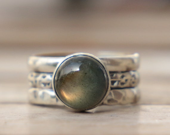 ADJUSTABLE 3 BAND RING - Labradorite - Sterling Silver - Healing Crystal - Statement - Limited Edition - Glitter - Gemstone - Chakra - Gift
