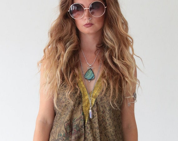 EARTHY SHIMMER JUMPSUIT - Christening - Fall - Vintage Style - Wedding outfit - Vacation - Halter neck Boho Beach outfit - Harem playsuit