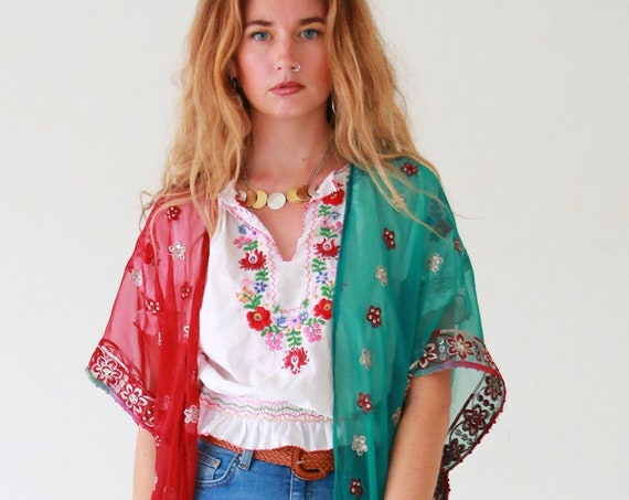 BOHEMIAN 2 TONE KIMONO - One of a kind Silk Kaftan - Batwing Jacket - Beach - Summer Cover up - Vintage Sari - Up cycle - India Festival