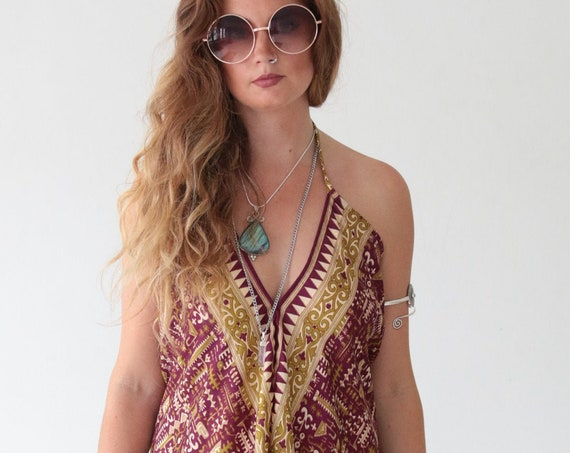 PURPLE TRIBAL JUMPSUIT - Backless Summer dress - All in one - Handmade Playsuit - Vintage Sari fabric - Harem Halter neck Dress - Reworked