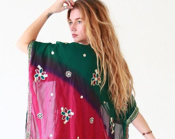 RAINBOW RUBY KIMONO - Tie dye Vintage - Up-cycled kaftan - Festival - Summer - Vibrant Beach wear - Bohemian Style - Indian Fabric - Spring
