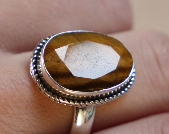 FACET TIGERSEYE RING - One size - Sterling silver ring - Tiger eye Ring - Semi Precious - Statement - Antique style  - Valentines gift