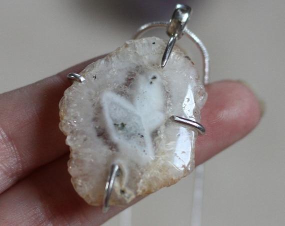 SOLAR QUARTZ PENDANT - Rare - Sterling Silver Necklace - Natural Quartz - Raw Necklace - Powerful Crystal - Energy - Fossil - Freeform -