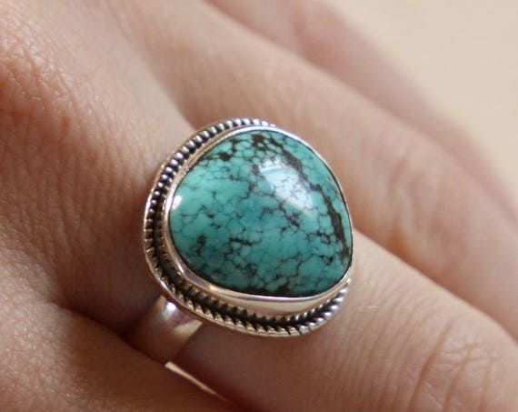 NAVAJO TURQUOISE RING - One size - Sterling silver ring - Crystal ring  - Semi precious - Turquoise jewellery - Statement - Valentines gift