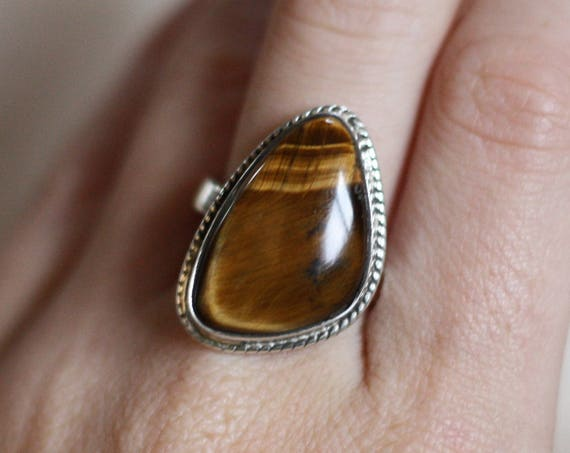 ADJUSTABLE TIGERSEYE RING - Sterling Silver Ring - Tigers Eye - Healing Crystal - Bohemian - Statement Ring - Bohemian - Gift - Gemstone