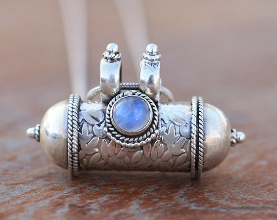 MOONSTONE MANTRA NECKLACE - Sterling Silver - Mantra Box - Buddhist - Prayer Box - Mala - Meditation - Yoga - Crystal - Ashes Necklace