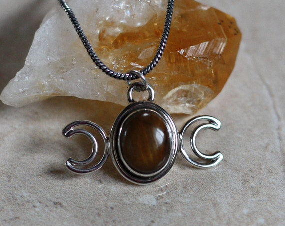 MOON GODDESS NECKLACE - Tigers eye - Moon Jewellery - Star sign - Gemstone - Horoscope - Crescent Moon - Crystal Necklace - Bespoke