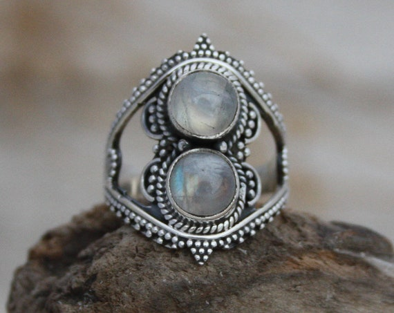TRIBAL MOONSTONE RING - Sterling Silver - Gemstone Ring - Moon child - Glitter - Galaxy - Bohemian - Statement Ring - Rare Crystal ring