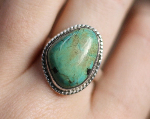 BESPOKE TURQUOISE RING - Adjustable Sterling silver ring - Crystal ring  - Semi precious Turquoise jewellery - Navajo Statement Ring - Boho