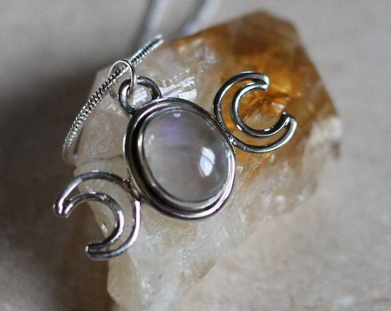 MOONSTONE MOON GODDESS - Triple moon Necklace - Moon Jewellery - Star sign - Gemstone - Horoscope - Crescent Moon - Bespoke healing crystal