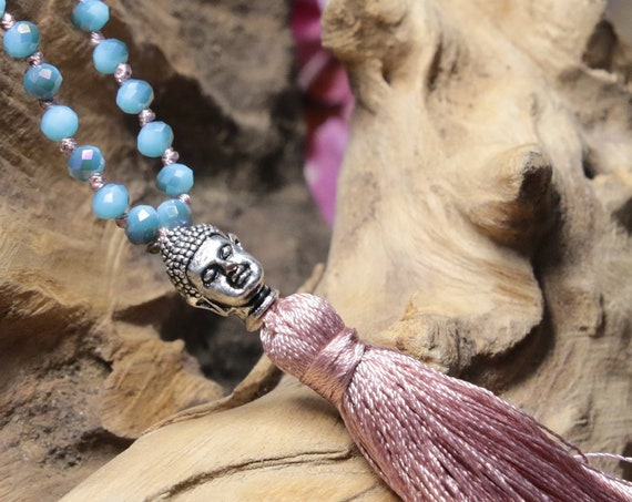 LITTLE BUDDHA NECKLACE - Costume jewellery - Spiritual Gift - Tassel - Handmade necklace - Faceted Beads - Teenage - Healing - Yoga beads