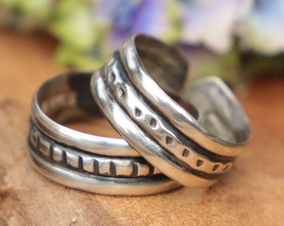 SILVER RING SET - 925 Sterling Silver Stack Rings - Adjustable - Oxidised Rings - Tribal - Vintage style - Stack rings - Unisex - Mens Ring