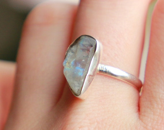 RAW MOONSTONE RING - Sterling Silver - Galaxy Gemstone - Natural Raw Rare Crystal - Alternative engagement Ring - Bohemian - Mothers day