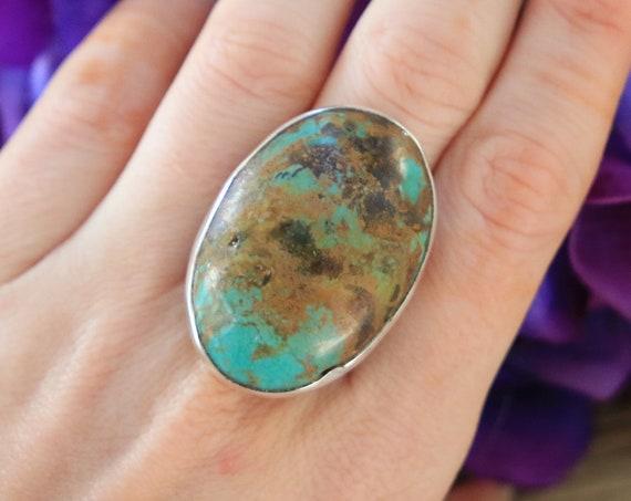 RARE TURQUOISE RING - Natural Turquoise - Healing Crystal Ring - Sterling Silver Ring - Navajo - Aztec - Chakra - Semi Precious - Atlas