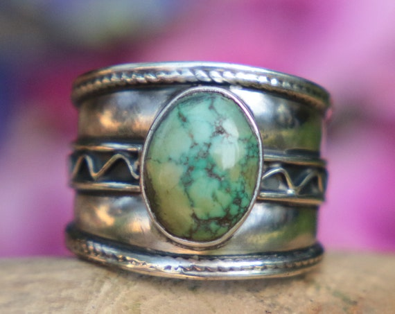VINTAGE TURQUOISE RING - 925 Sterling Silver - Adjustable ring - Navajo - Oxidised Ring - Birthstone - Unisex - Gift - Crystal - Gemstone