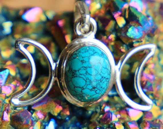 TURQUOISE TRIPLE MOON - Moon Jewellery - Star sign - Gemstone - Horoscope - Moon Child - Crystal Moon - Birthstone - Galaxy Jewel - Goddess