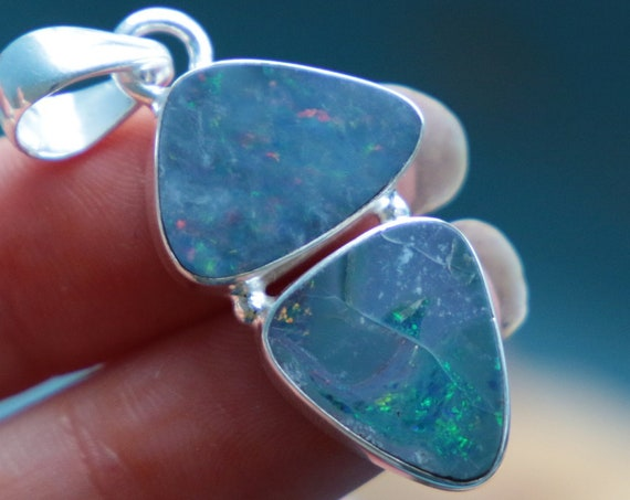 RARE OPAL NECKLACE - 925 Sterling Silver - Australian Opal - Healing - Chakra - Premium Necklace - Summer - Gift - Unique - Two Stone