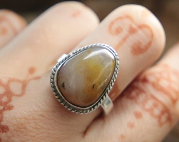 CITRINE SILVER RING - Adjustable - Sterling silver - Crystal ring  - Semi precious - Birthstone - Success Stone - Manifesting Gift - Jewelry
