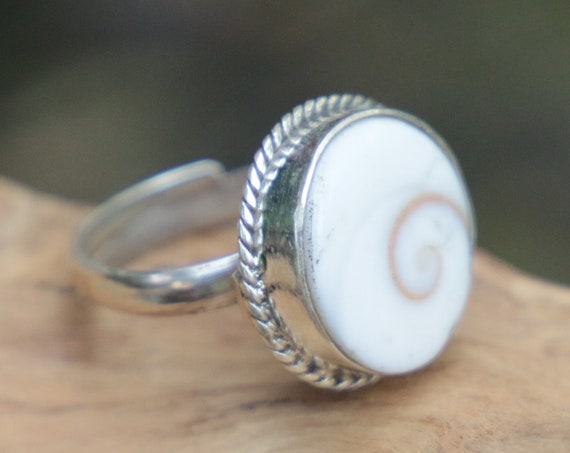 SHIVA EYE RING - Adjustable Shiva Shell Ring - Sterling Silver Ring -  Shell - Healing Crystal - Bohemian - Statement Spiritual Ring - Gift