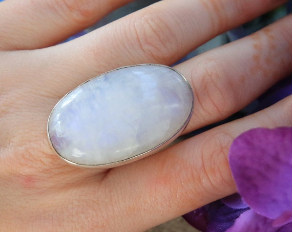 XL MOONSTONE RING - Statement Healing Crystal Ring - Sterling Silver Gemstone Ring - Rainbow - Glowing Crystal - Crystal Moon Jewellery