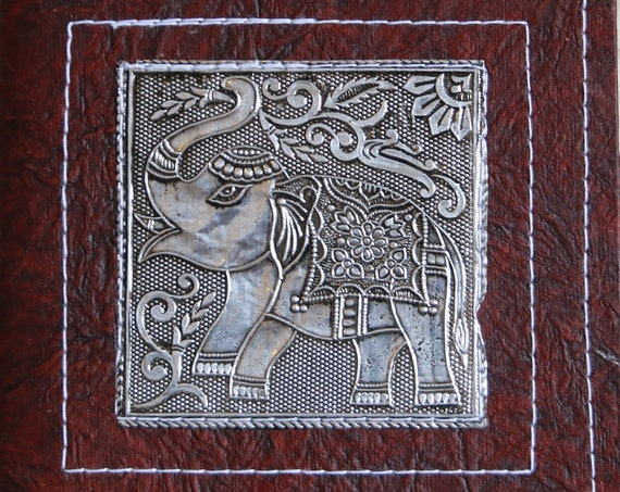 ELEPHANT JOURNAL - Embossed Silver Notebook - Sketchbook - Dream Journal - Travel Scrapbook - Handmade Rag Paper - Vegan - Creative gift