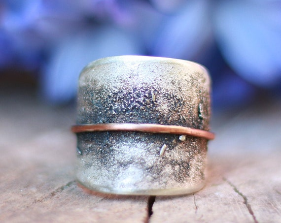 RUSTIC SILVER RING - Adjustable 925 Silver Ring -  Oxidised Leaf Ring - Rustic Jewellery - Hammered Texture - Unisex Ring - Only one made