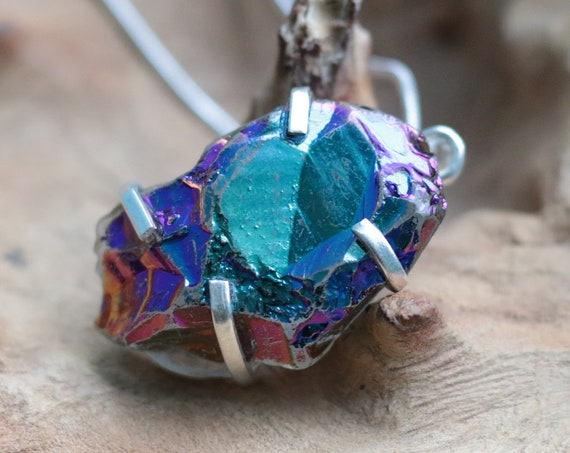 BLUE TITANIUM NECKLACE - Rare Crystal - Sterling Silver - Rainbow - Aura Necklace - Angel Quartz - Festival - Crystal - Gemstone - Galaxy