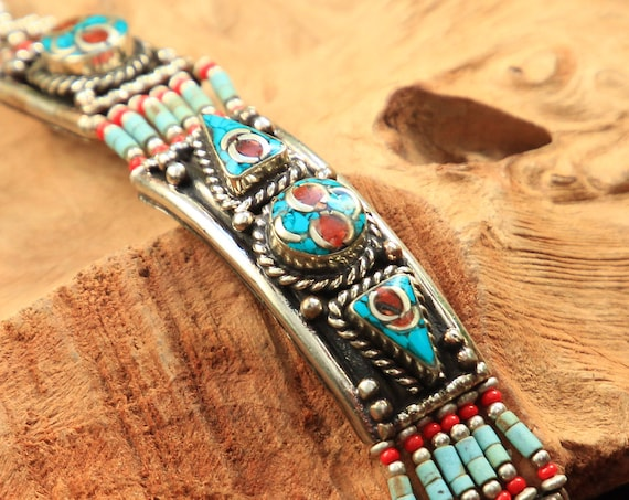 TURQUOISE & CORAL BANGLE - Vintage Nepalese Bracelet  - Statement Jewellery - Indian Tribal - Rare Antique Bracelet - Unique gemstone gift