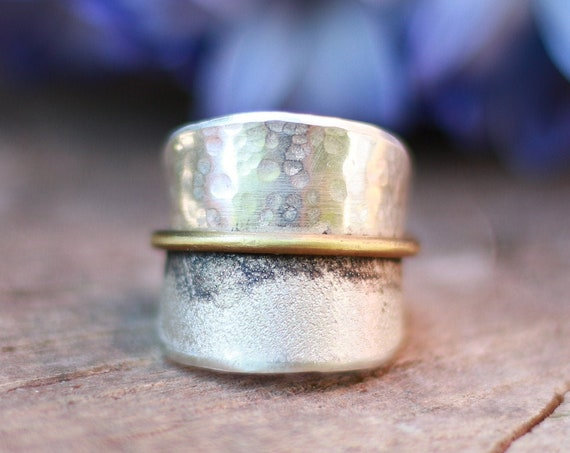 BESPOKE LEAF RING - 925 Sterling Silver - Adjustable ring - Oxidised silver - Nature inspired - Rustic  - Organic - Raw Texture Jewellery