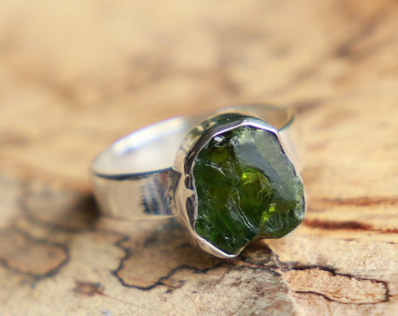 SEA GLASS JEWELLERY - Deep Green Sterling silver Ring - 925 - Unpolished Seaglass - Ocean Friendly - Ethically sourced - Rustic Crystal Gift